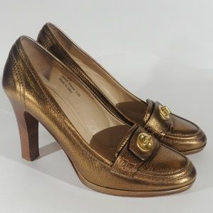Coach Danna Gold Lock Loafer Pumps Size 8B